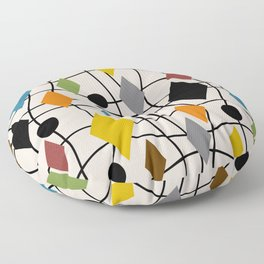 Colorful Mid Century Modern Geometric Abstract 121 Floor Pillow