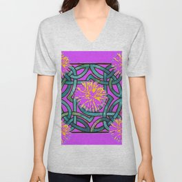 Purple & Aqua Fuchsia Floral Abstract  Art Nouveau Unisex V-Neck
