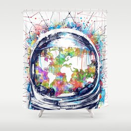 astronaut world map colorful Shower Curtain