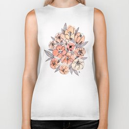 Pink Inky Floral - Watercolor Flowers - Ink Biker Tank