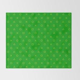 Green Gamer Pattern Throw Blanket