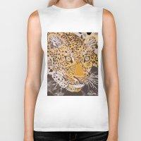 leopard Biker Tanks featuring Leopard by stevesart