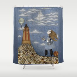Ship in the Sky Shower Curtain