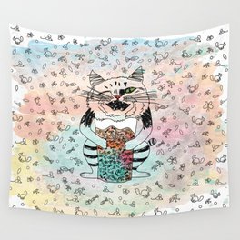 Emotional Cat. Playful. Wall Tapestry
