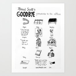 Michael Scott's Goodbye Presents to the Office Art Print