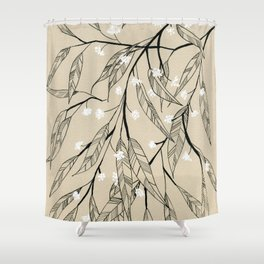 Line Drawing Leaves #3 Shower Curtain