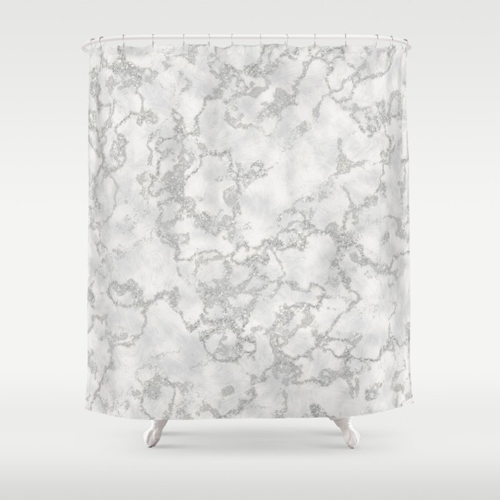 Metallic Silver White Marble Texture Shower Curtain