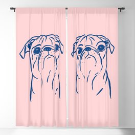 Pug (Pink and Blue) Blackout Curtain