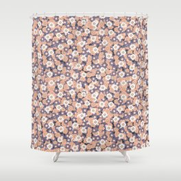 Ditsy Daisy Floral Vector Pattern Hand Drawn Shower Curtain