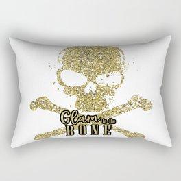 White Glam to the Bone Skull Rectangular Pillow