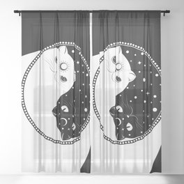 Cartoon black and white cats, yin yang sign Sheer Curtain