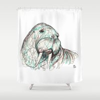 walrus Shower Curtains featuring Walrus by Ursula Rodgers