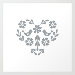 Silver heart shaped floral and birds Art Print