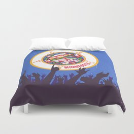Minnesota State Flag with Audience Duvet Cover