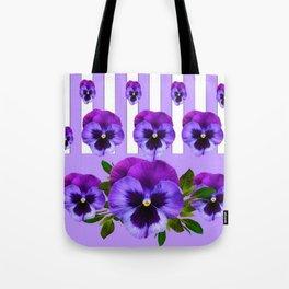 MODERN LILAC & PURPLE PANSY FLOWERS ART Tote Bag
