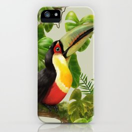 Toucans and Bromeliads (Canvas Background) iPhone Case