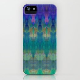 Tribal Diamonds Watercolour Blue iPhone Case