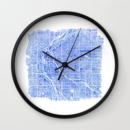 Denver Blueprint City Map Watercolor Wall Clock