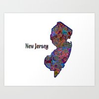 new jersey Art Prints featuring New Jersey by gretzky