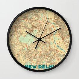 New Delhi Map Retro Wall Clock