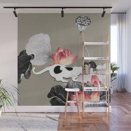 Cat and Lotus Wall Mural