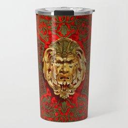 Elegant Vintage Ornament Pattern Red Gold Travel Mug