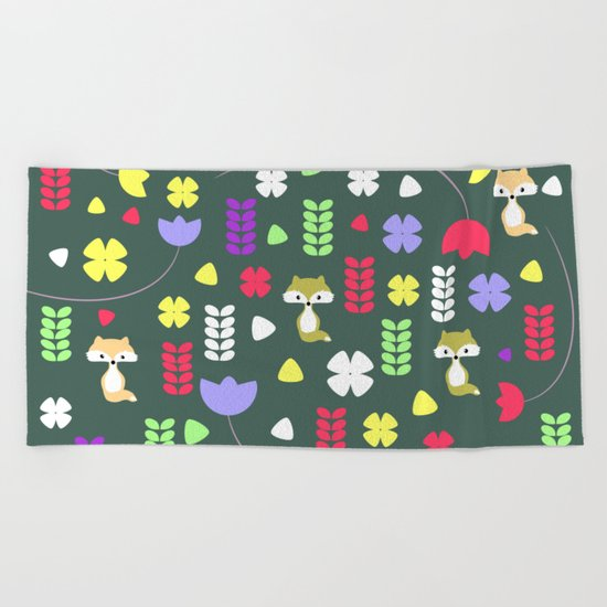Foxes, flowers and more Beach Towel