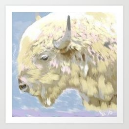 White buffalo calf Art Print