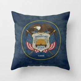 Utah State Flag, vintage retro style Throw Pillow
