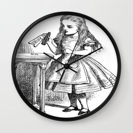 Alice in Wonderland Drink Me Bottle Transparent Background Wall Clock