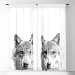 Black and White Wolf Blackout Curtain