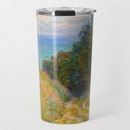 Claude Monet Impressionist Landscape Oil Painting Road at La Cavée, Pourville Travel Mug