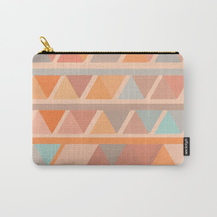Muted Earth Tones Abstract Geometric Pattern Carry-All Pouch by junejournal