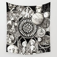 stained glass Wall Tapestries featuring Stained glass by Anca Chelaru