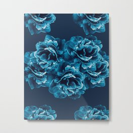 Blue Peony Flower Bouquet #1 #floral #decor #art #society6 Metal Print
