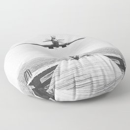 Steady As She Goes; aircraft coming in for an island landing black and white photography- photographs Floor Pillow