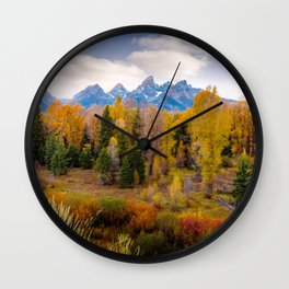 Autumn Glow at Grand Teton National Park Wall Clock