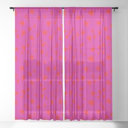 Scattered Hand-Drawn Bright Red Painted Hearts Pattern on Hot Pink Sheer Curtain