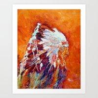 native american Art Prints featuring Native American by LiliyaChernaya