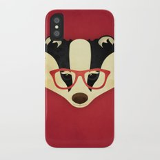 Hipster Badger: Red Slim Case iPhone X
