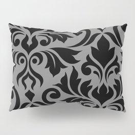 Flourish Damask Art I Black on Gray Pillow Sham