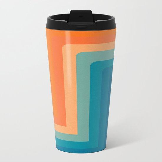 Retro 70s Color Lines Metal Travel Mug