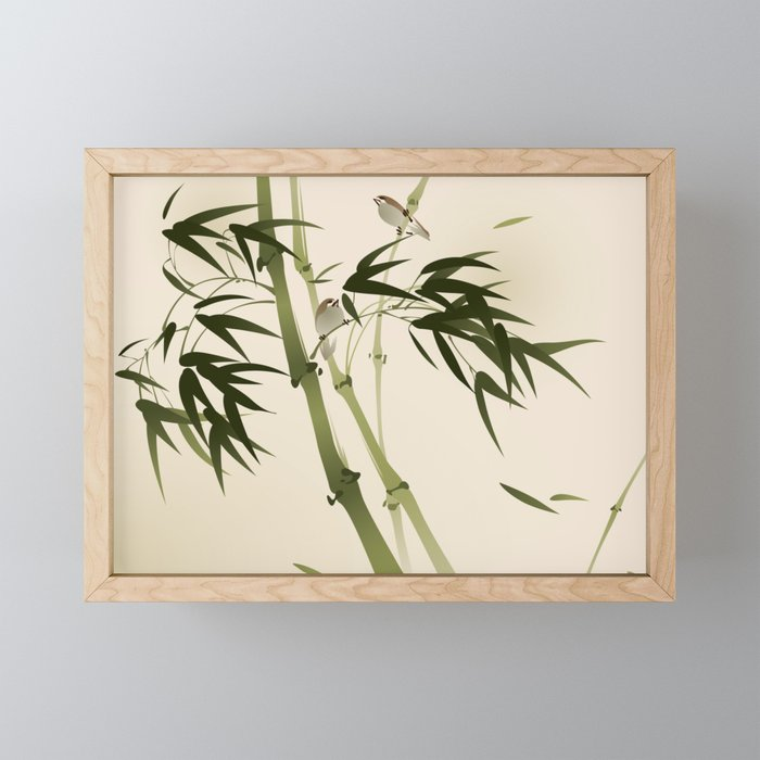 Oriental style painting, bamboo branches Framed Mini Art Print