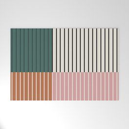 Color Block Line Abstract V Welcome Mat