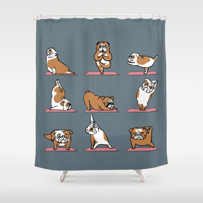 English Bulldog Yoga Shower Curtain By Huebucket