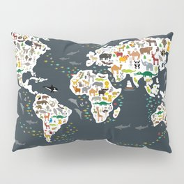 Cartoon animal world map for kids, back to schhool. Animals from all over the world Pillow Sham
