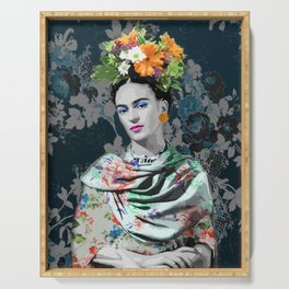 Frida and flowers Serving Tray