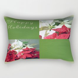 Mixed color Poinsettias 3 Happy Holidays Q5F1 Rectangular Pillow