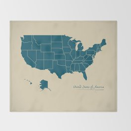 Modern Map - United States of America USA Throw Blanket