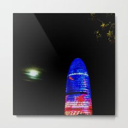 The moon and the tower #watercolor Metal Print